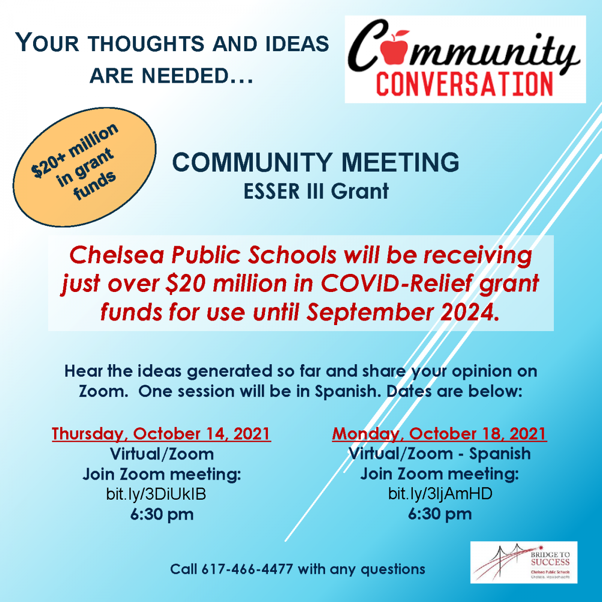 Flyer from Chelsea Public Schools describing the ESSER III community meeting to discuss the funding that CPS has.