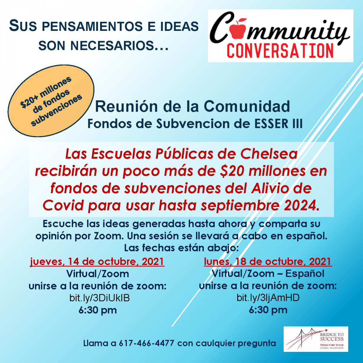 A flyer in Spanish describing the ESSER III Grant that Chelsea Public Schools received. The meeting will provide residents the opportunity to provide input on the use of the funds.