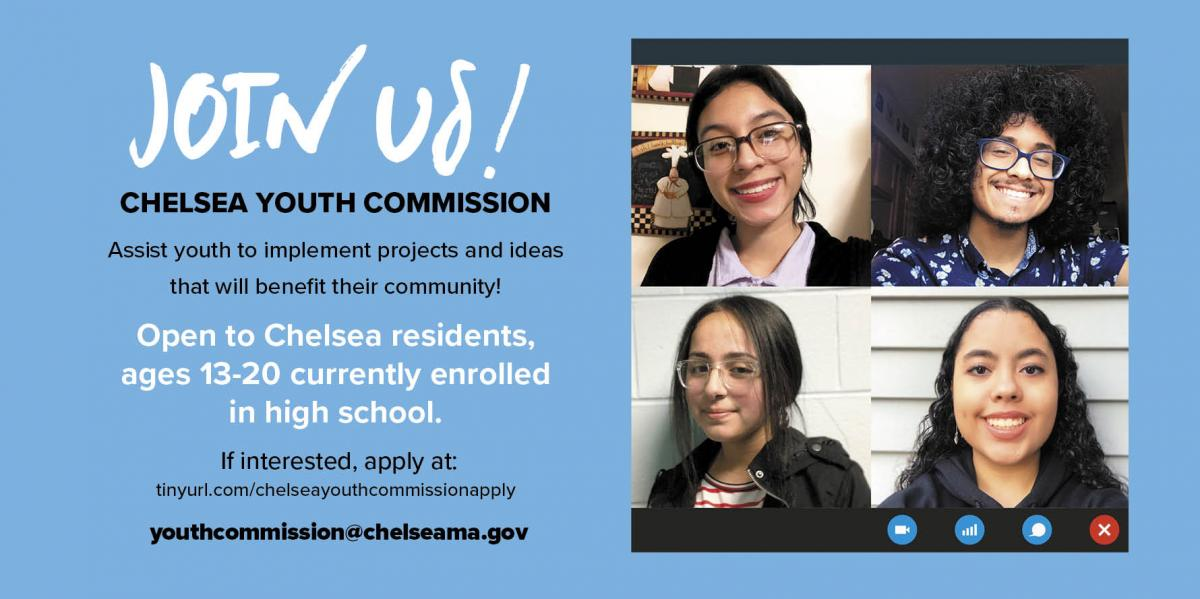 Chelsea Youth Commission is looking for new high school members from age 13 to 20.